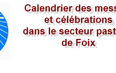Calendrier des messes et célébrations dans le secteur pastoral de Foix